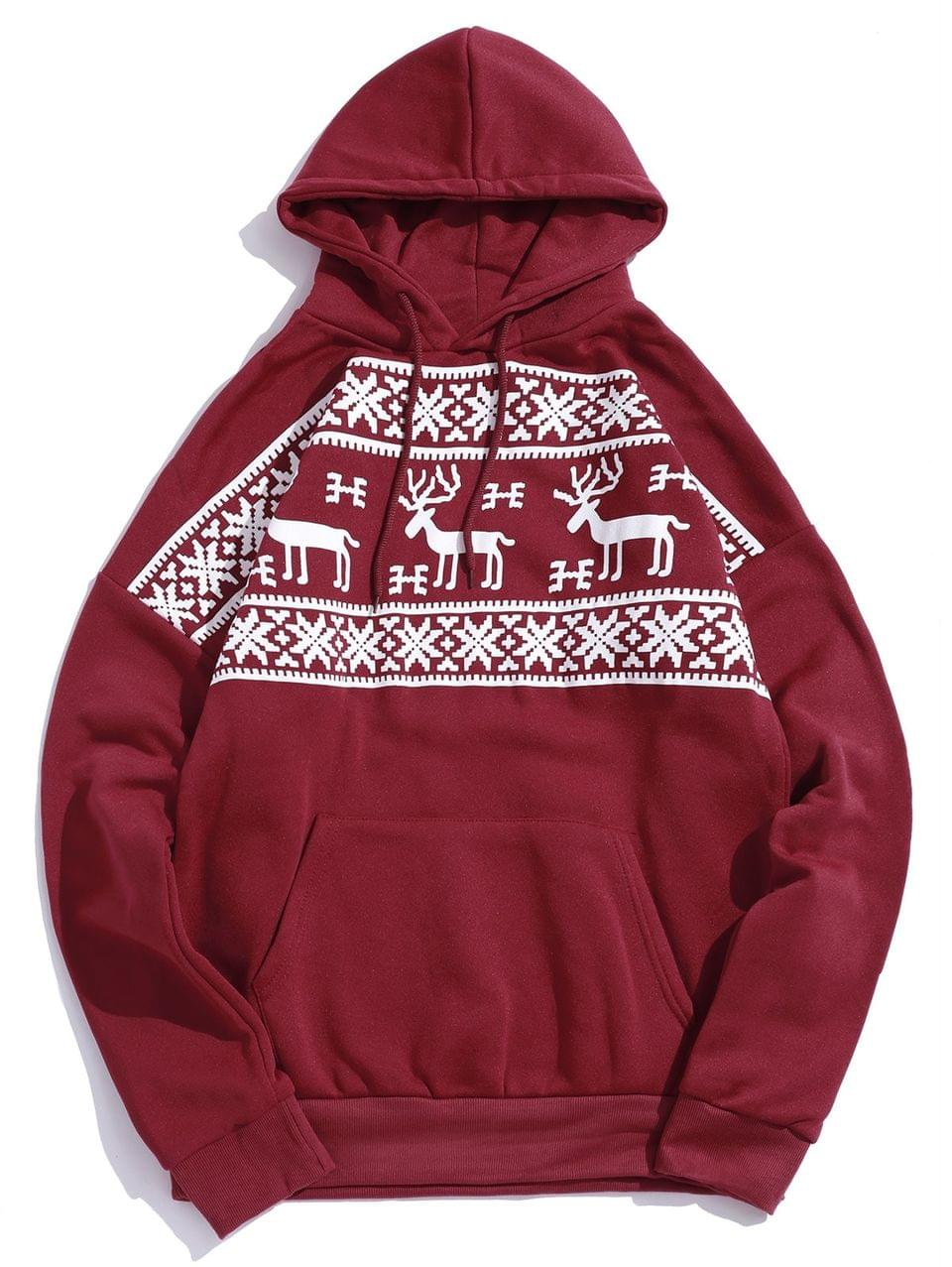 Men's Christmas Elk Snowflake Graphic Print Fleece Hoodie - Red M