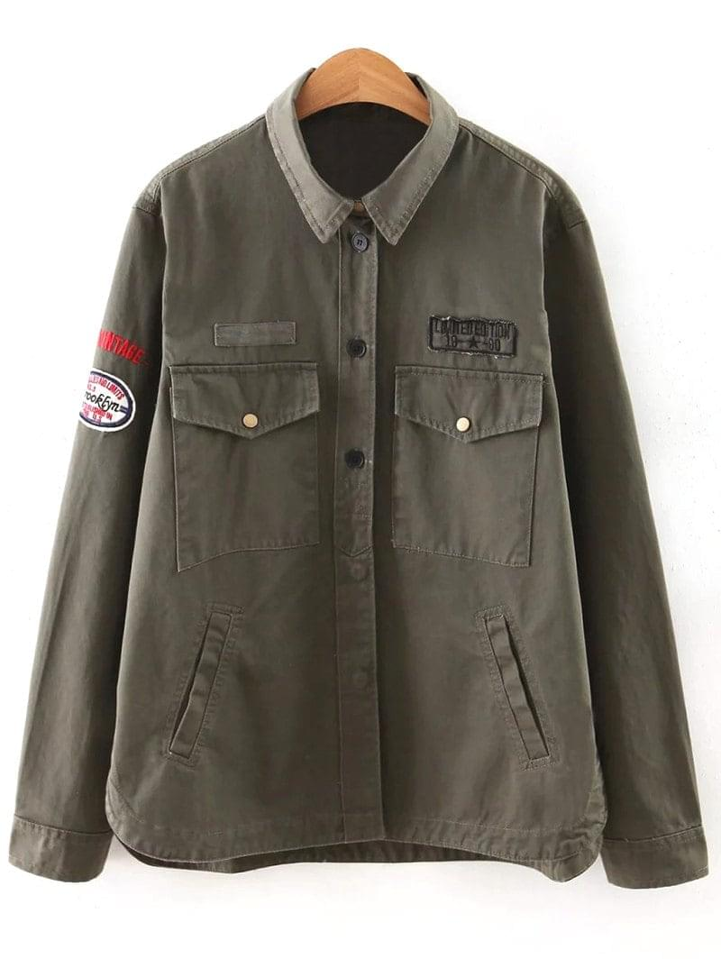Women's Letter Print Epaulet Shirt Neck Pockets Jacket - Army Green S