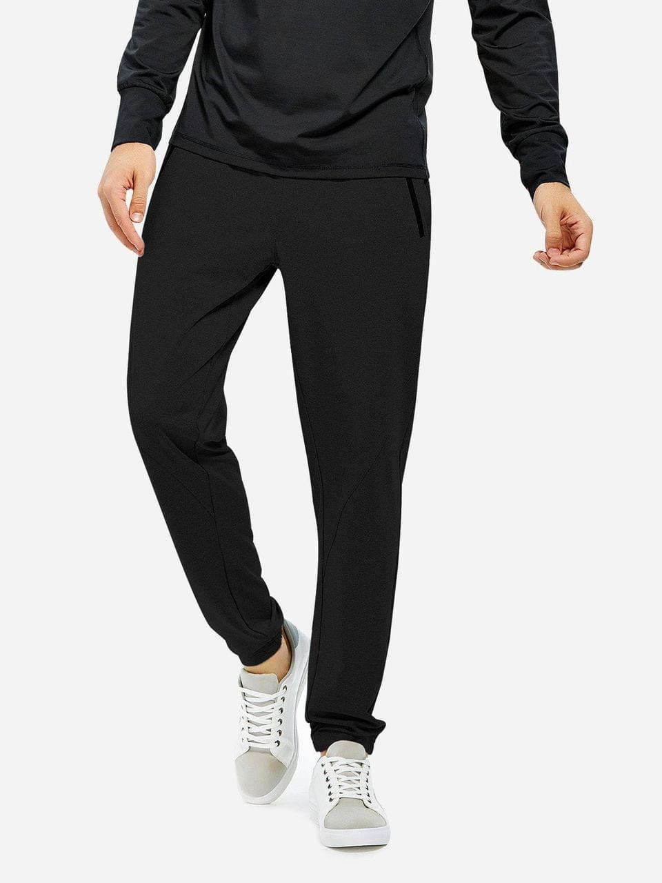 Men's Men Joggers Sweatpants With Zip Pocket - Black 3xl