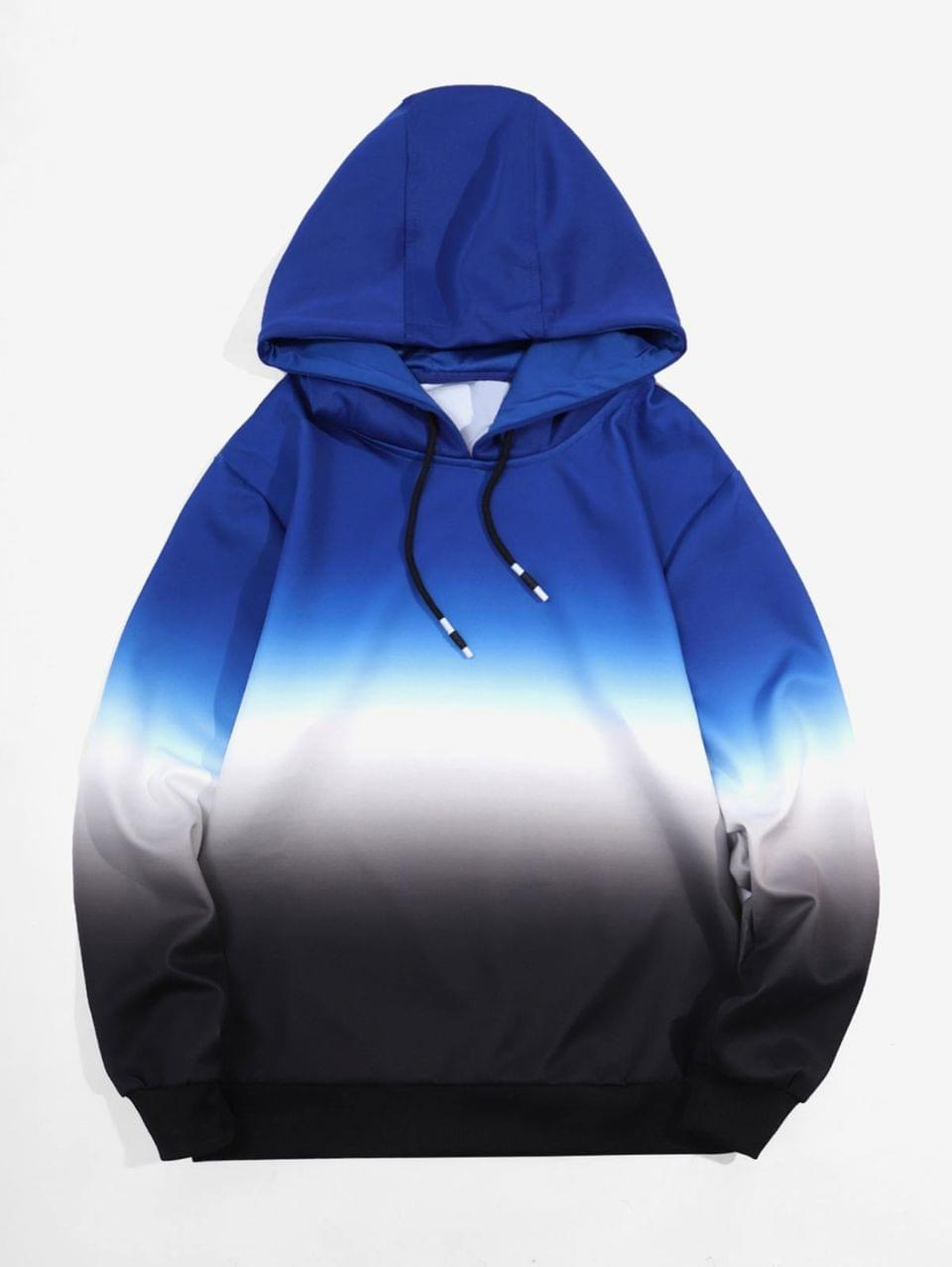 Men's Ombre Print Drawstring Pullover Hoodie - Blue S