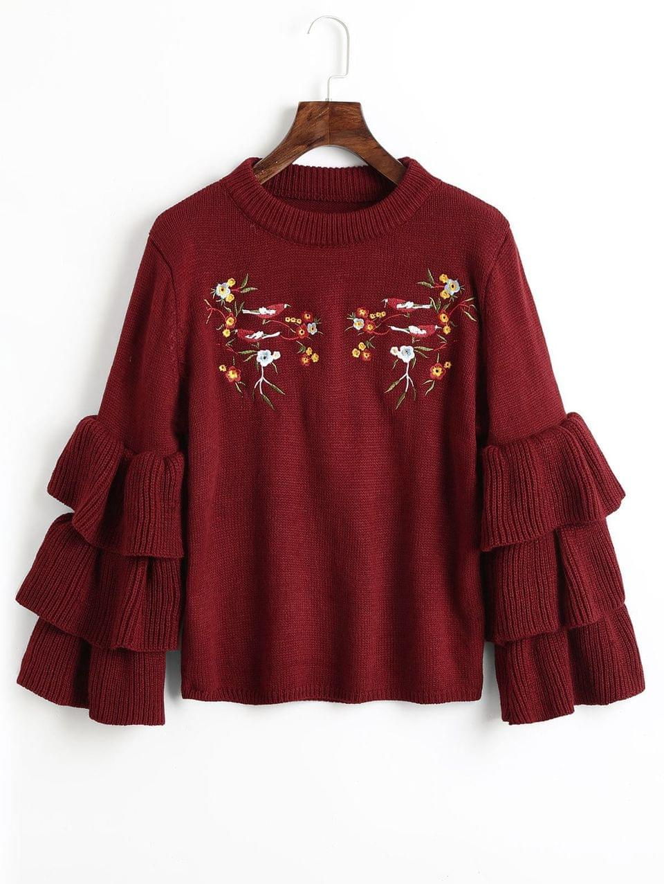 Women's Layered Sleeve Floral Embroidered Sweater - Wine Red