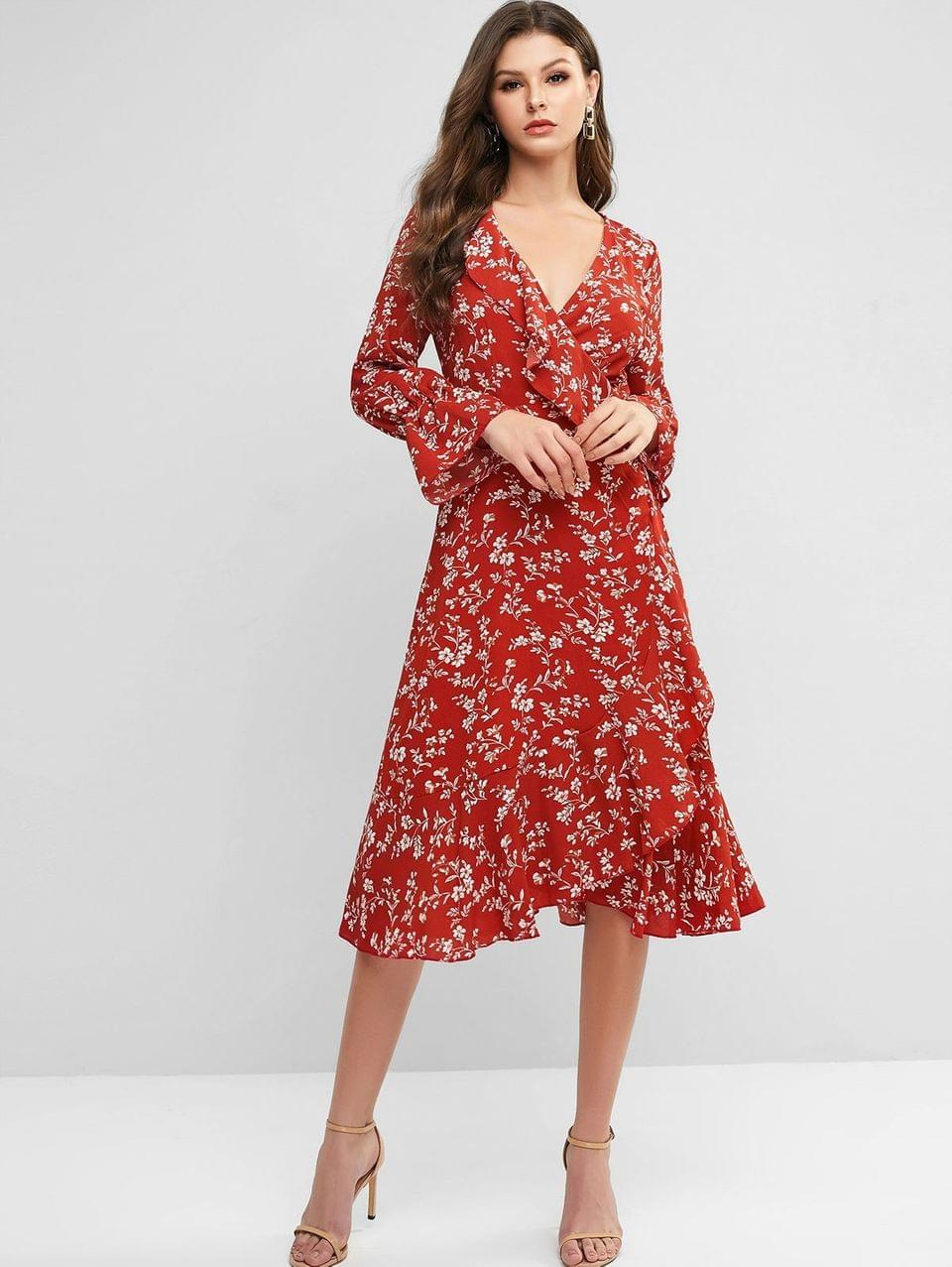 Women's Poet Sleeve Ditsy Floral Ruffles Wrap Dress - Valentine Red L