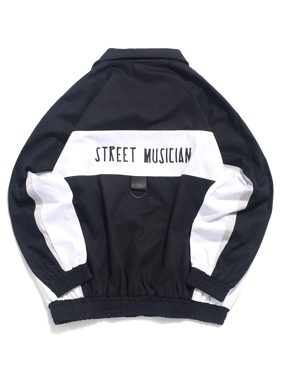 Men's Street Musician Letter Print Color Blocking Splicing Jacket - Black L