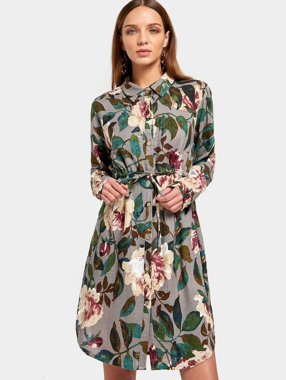 Women's Button Up Floral Print Shirt Dress - Floral M
