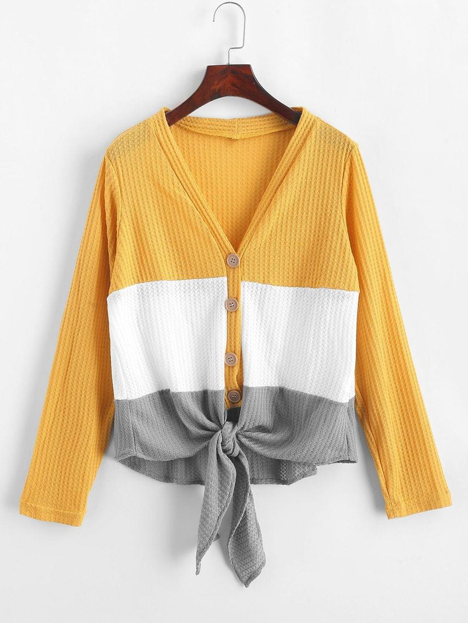 Women's Button Up Color Block Knotted Cardigan - Multi-a S