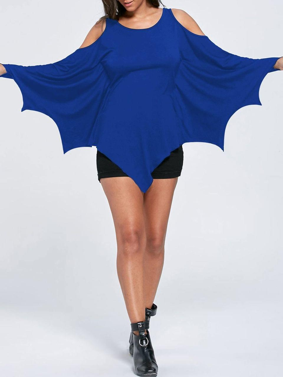 Women's Halloween Cold Shoulder Batwing Top - Blue L