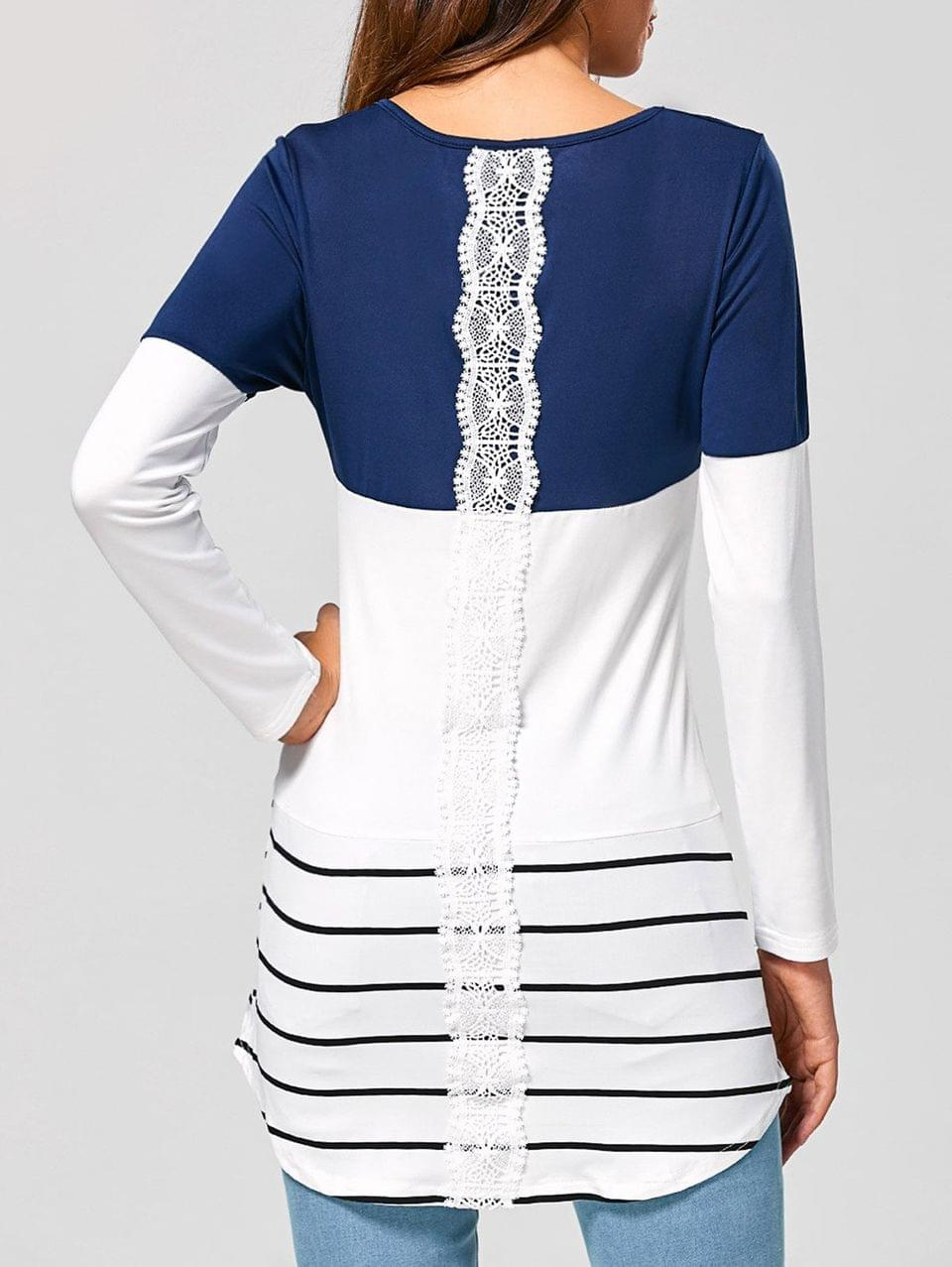 Women's Long Striped Lace Panel Long Sleeve T-Shirt - Deep Blue L