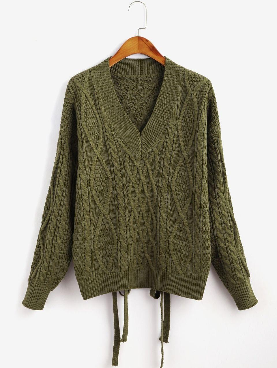 Women's Cut Out Cable Knit Tied Sweater - Army Green