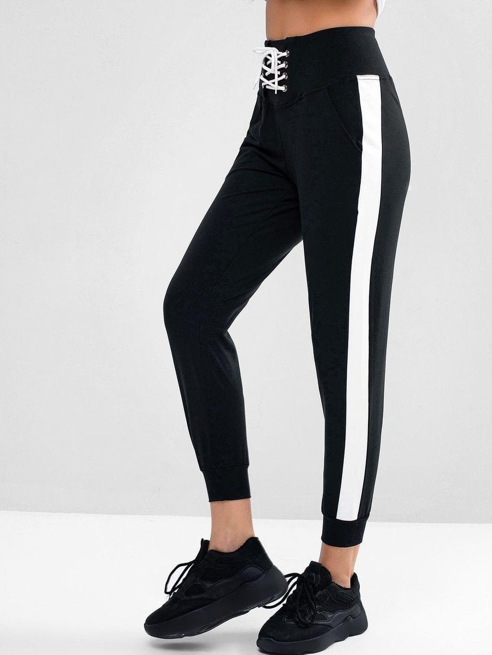 Women's Lace Up Stripe Trim Jogger Pants - Black Xl
