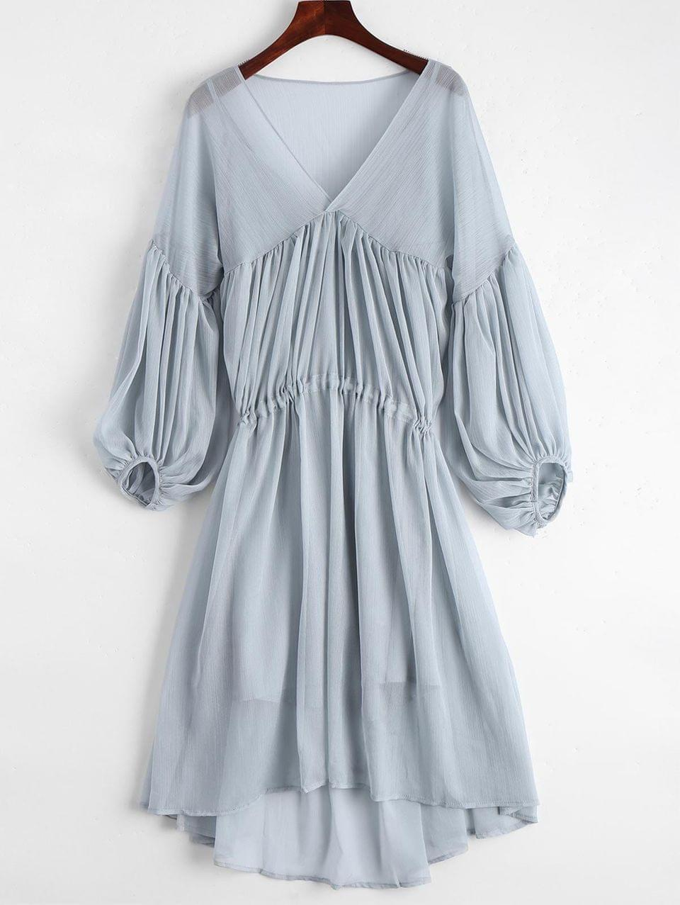 Women's Lantern Sleeve Chiffon High Low Dress With Slip Dress - Blue Gray M