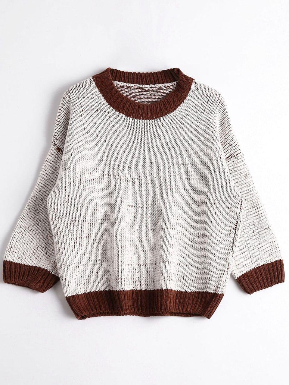 Women's Crew Neck Chunky Sweater - Grey White