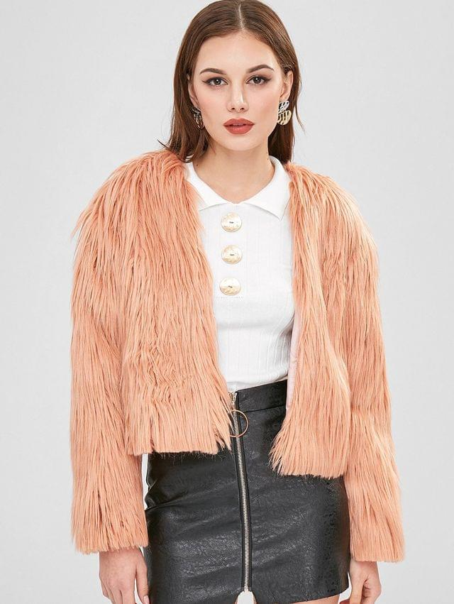WOMEN Open Front Fluffy Coat - Orange Pink S