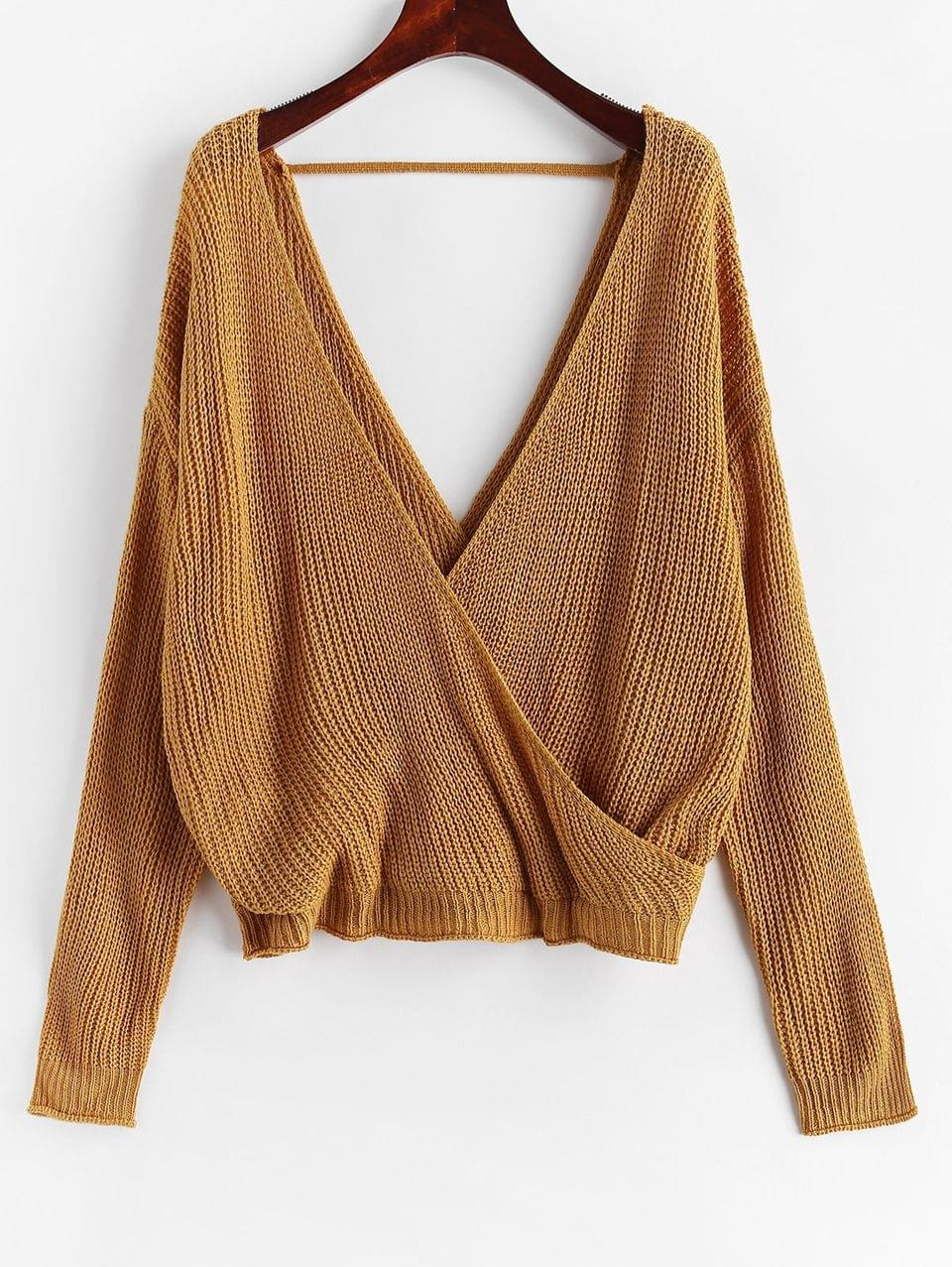 Women's Surplice Plunging Backless Cutout Sweater - Caramel L