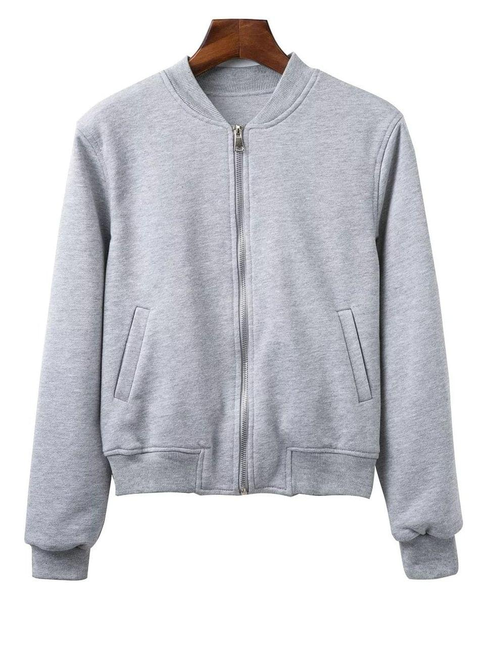 Women's Zip Up Fitting Stand Neck Long Sleeve Jacket - Gray S