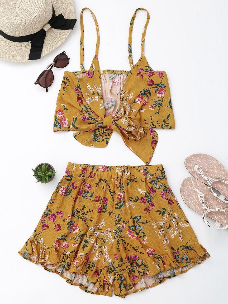 Women's Floral Cami Top With Shorts Set - Floral S