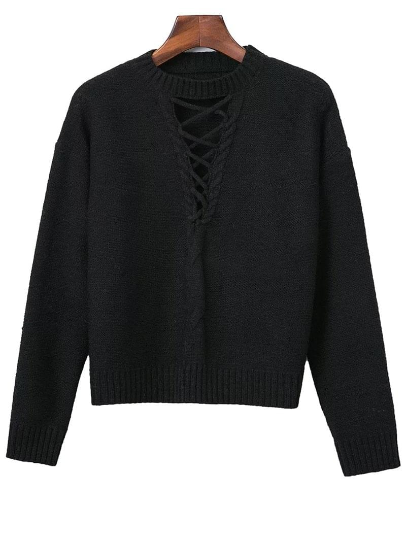 Women's Cable Knit Lacing Sweater - Black