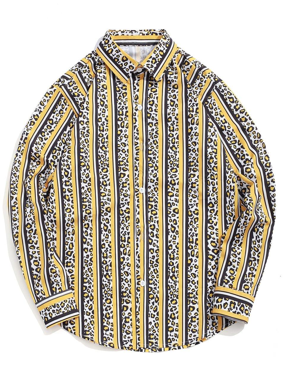 Men's Leopard Striped Colorblocking Print Casual Button Shirt - Rubber Ducky Yellow S