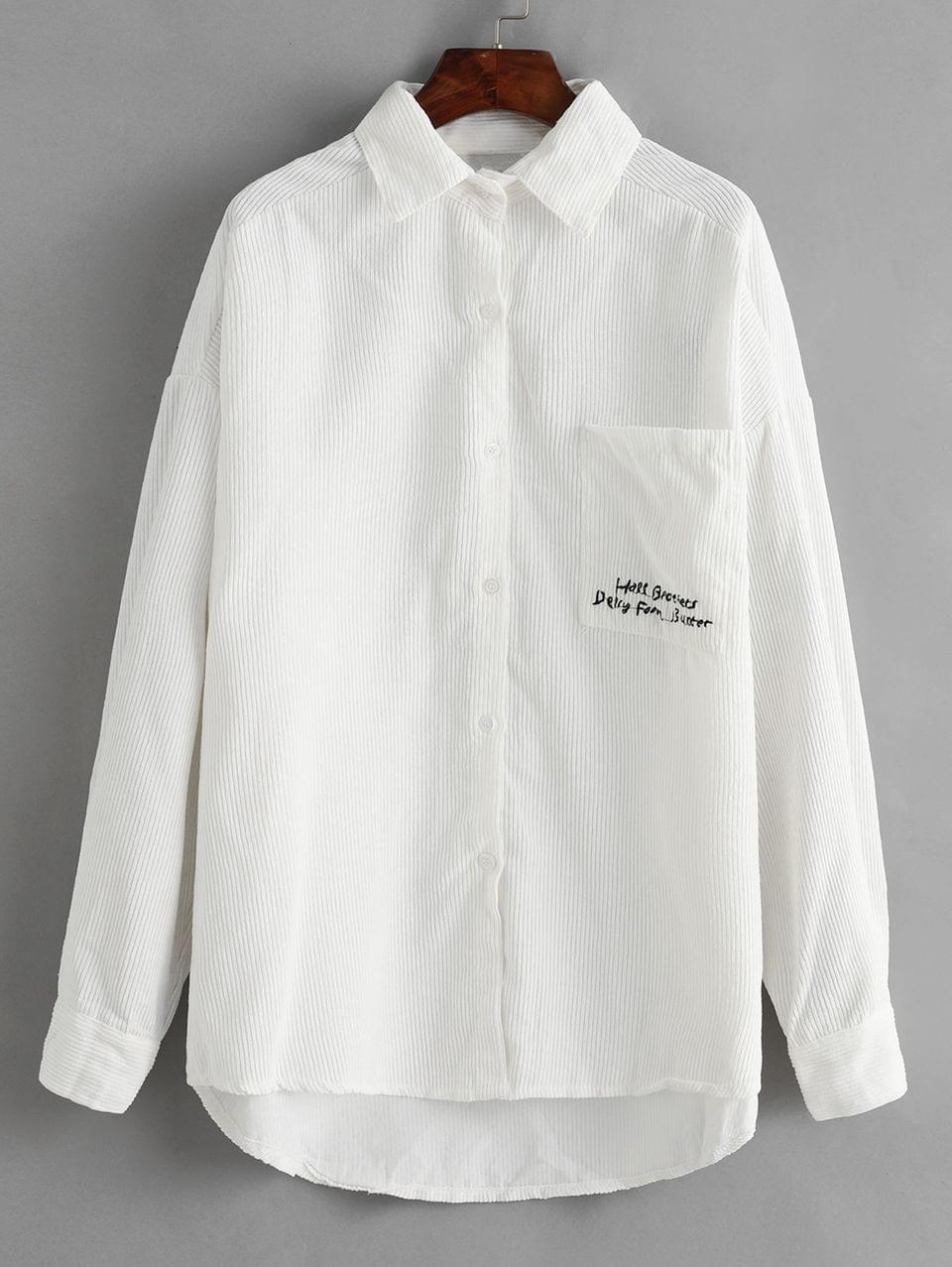 Women's Corduroy Letter Embroidered High Low Pocket Jacket - White