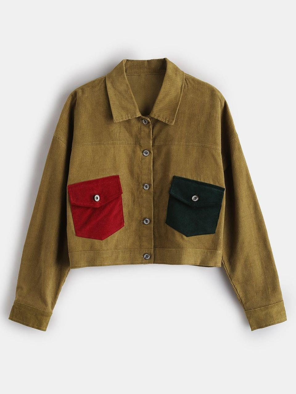 Women's Button Up Corduroy Shirt Jacket - Harvest Yellow S