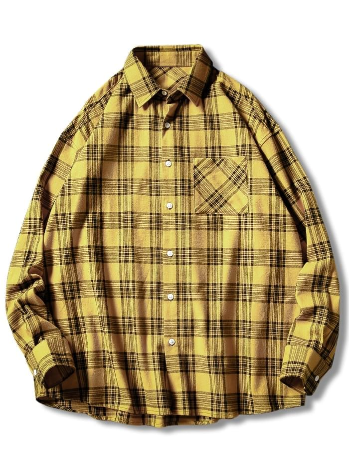 Men's Plaid Print Button Up Casual Pocket Shirt - Yellow L