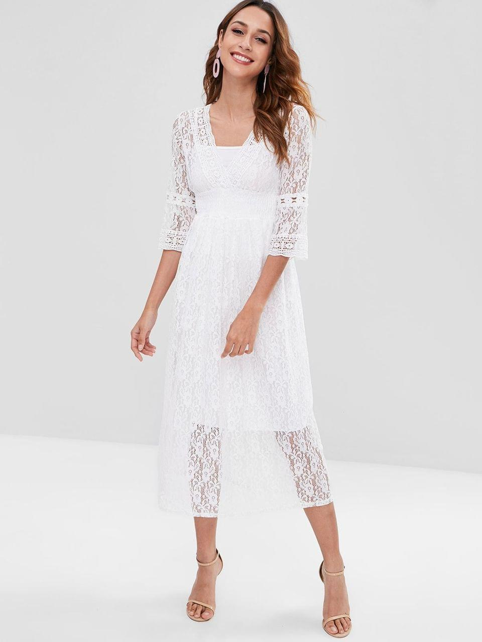 Women's Lace Surplice Dress With Cami Top - White M