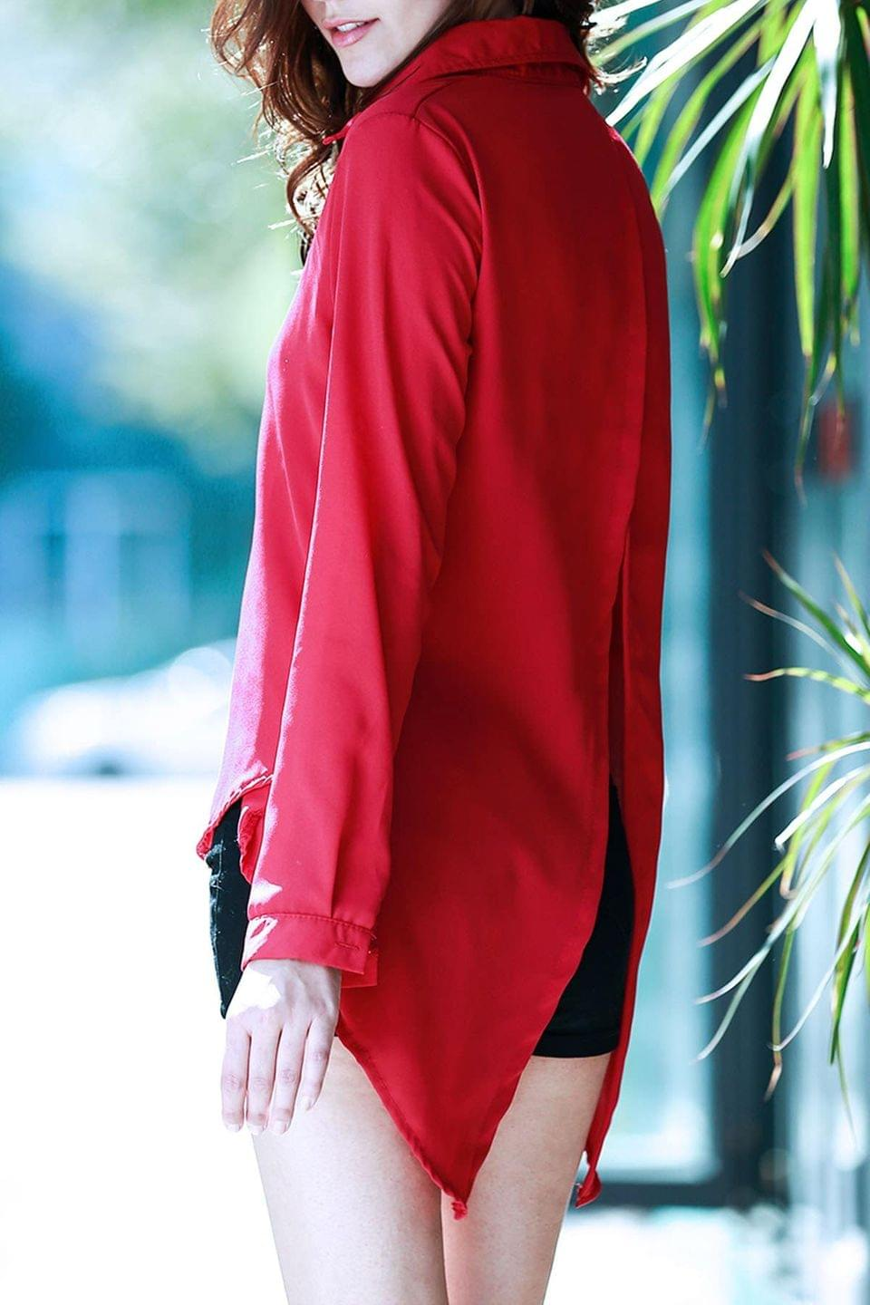 Women's Fly By Cape Red Blouse - Deep Red L