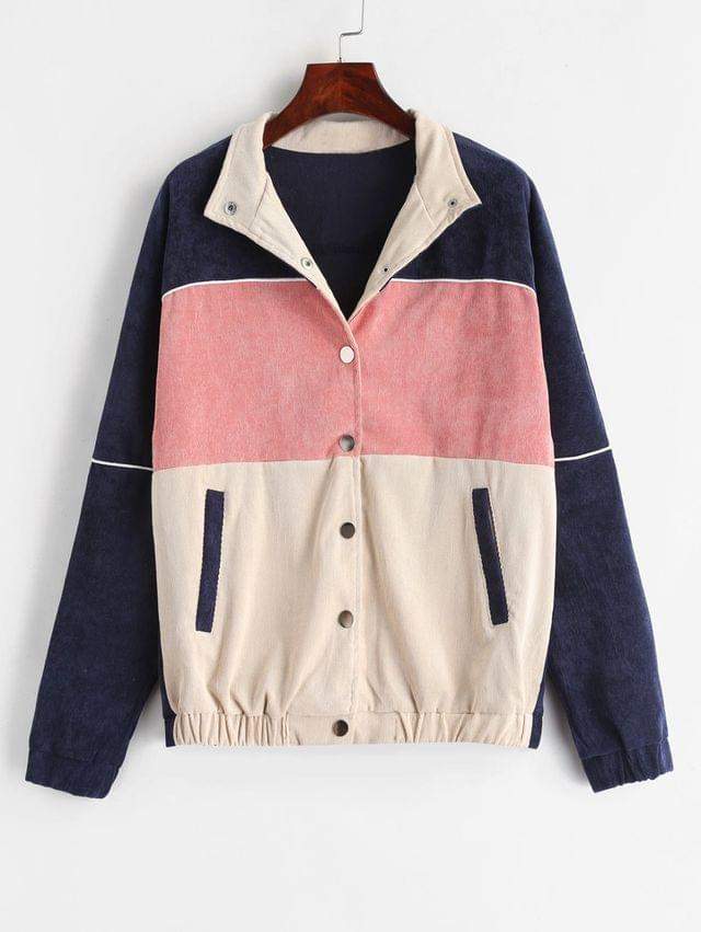 WOMEN Snap Button Contrast Corduroy Jacket - Multi M