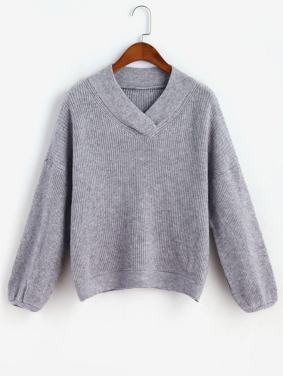 Women's V Neck Marled Drop Shoulder Sweater - Dark Gray