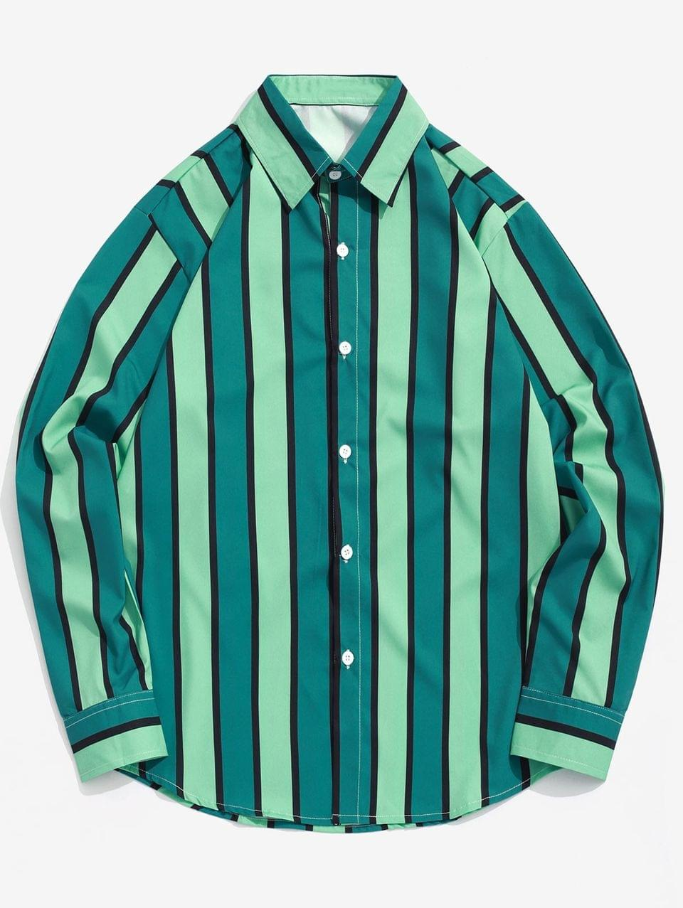 Men's Colorblock Vertical Striped Print Casual Button Shirt - Multi S