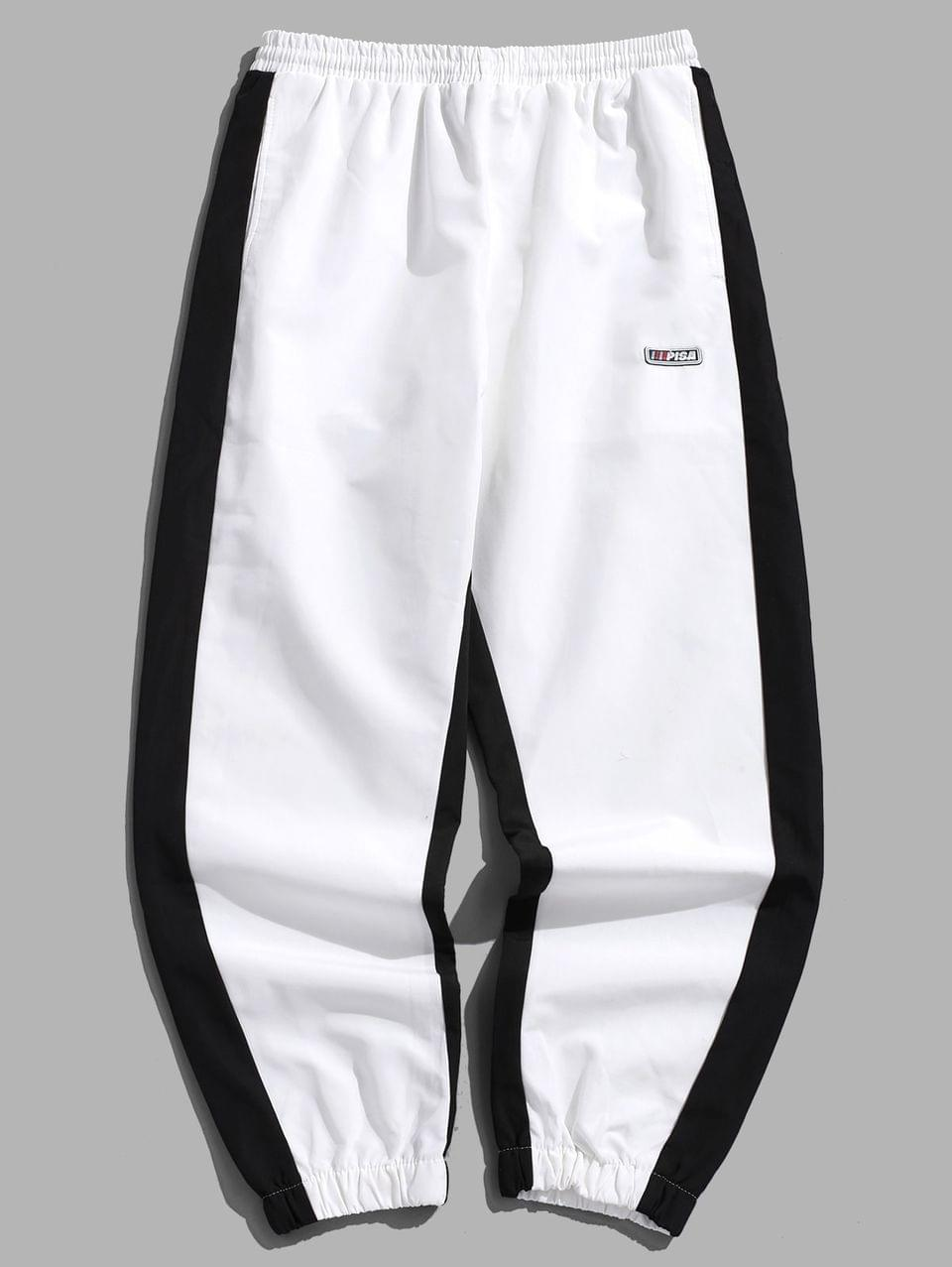 Men's Hit Color Drawstring Jogger Pants - White L