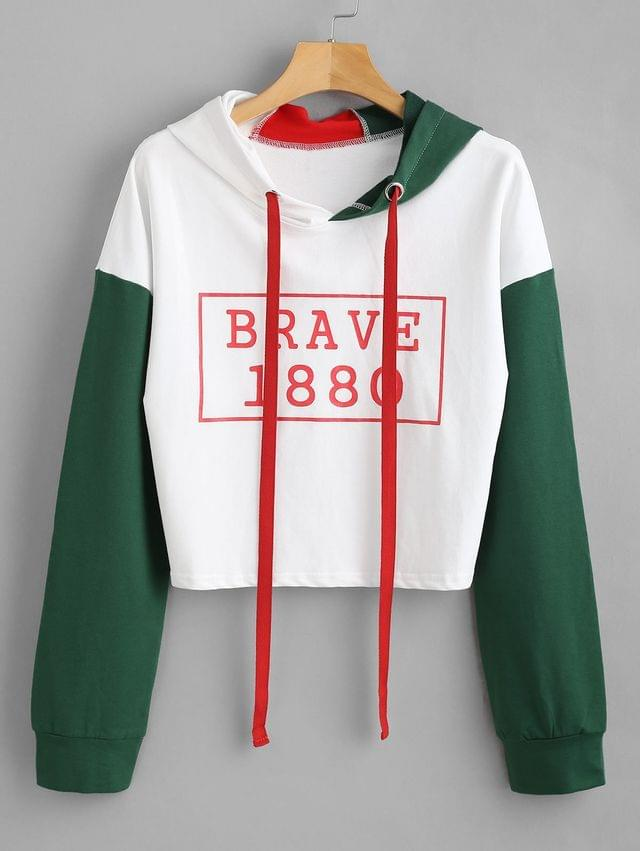 WOMEN Color Block Graphic Hoodie - White L