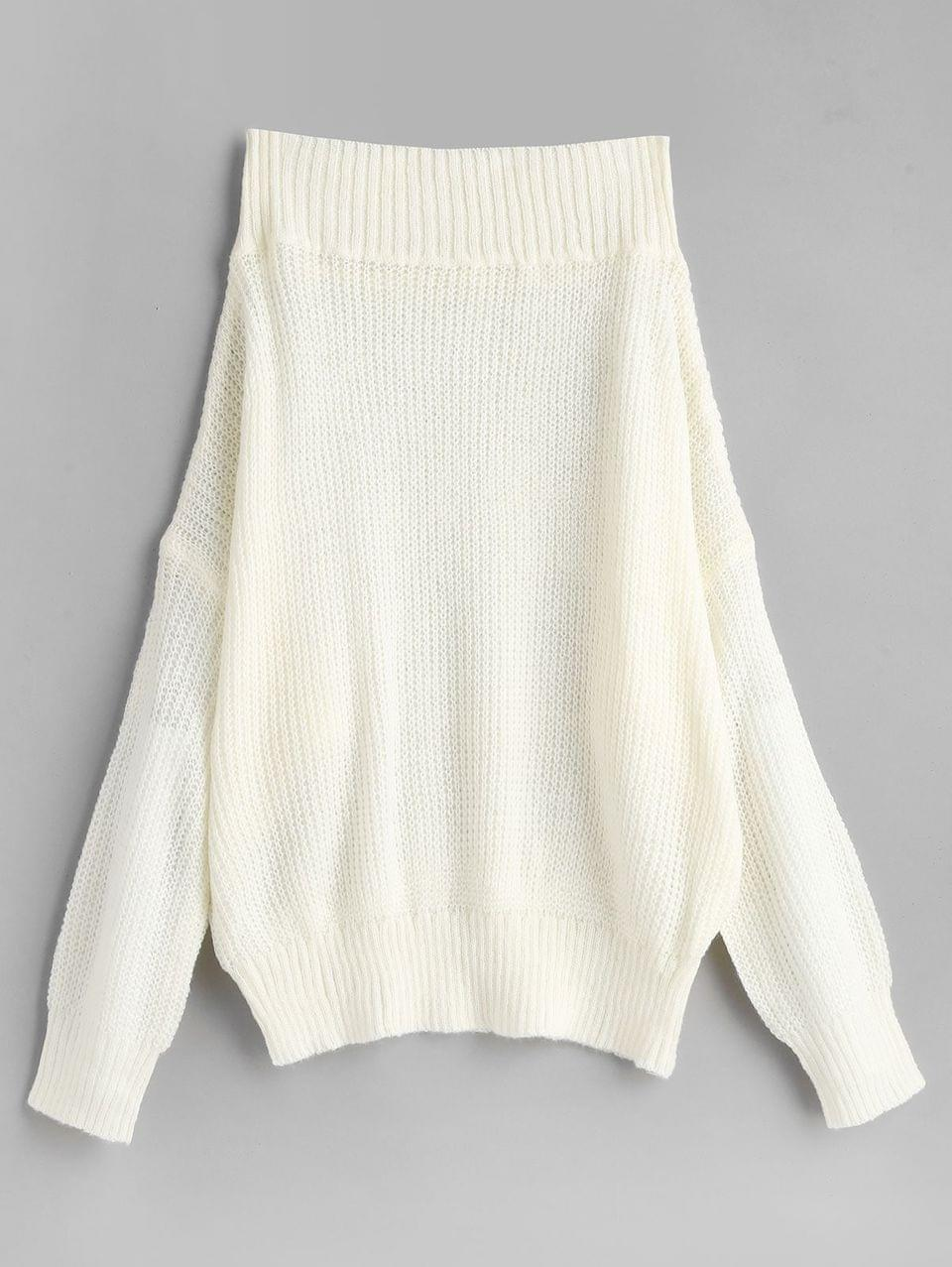 Women's Off Shoulder Solid Loose Sweater - White M
