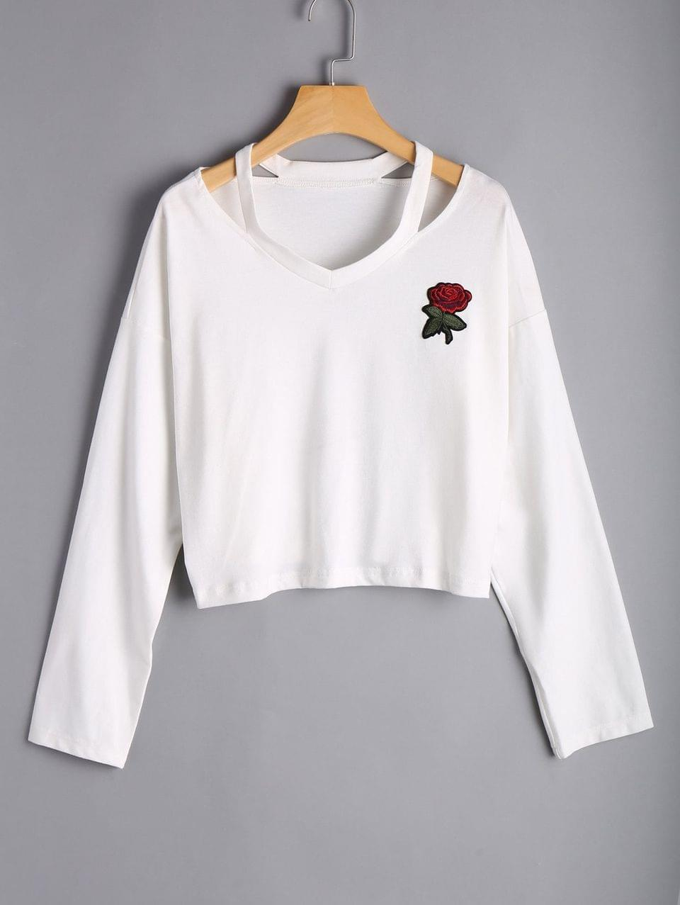 Women's Rose Embroidered Cold Shoulder Top - White S