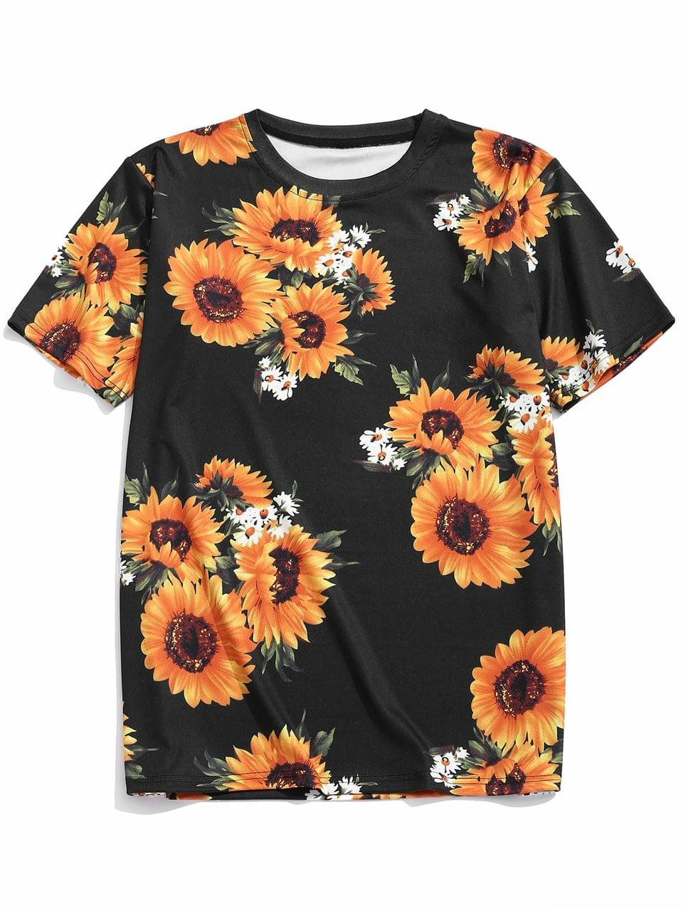 Men's Short Sleeves Sunflower Allover Print Casual T-shirt - Black M