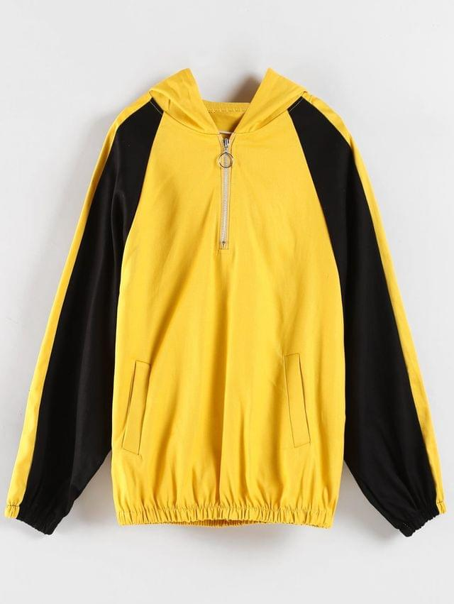 WOMEN Color Block Graphic Boyfriend Hoodie - Yellow Xl