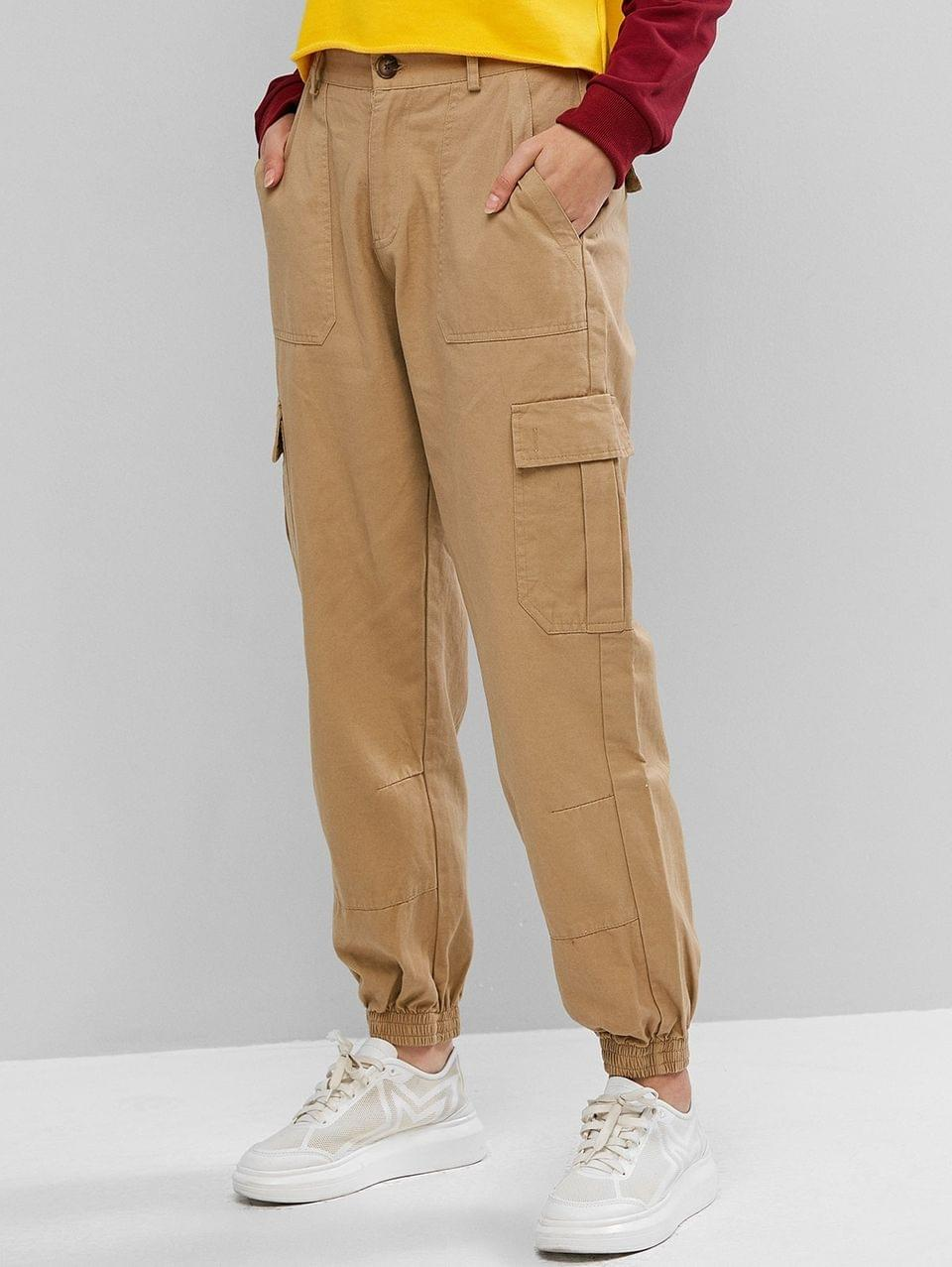 Women's High Waisted Buckle Flap Pockets Jogger Pants - Light Khaki S