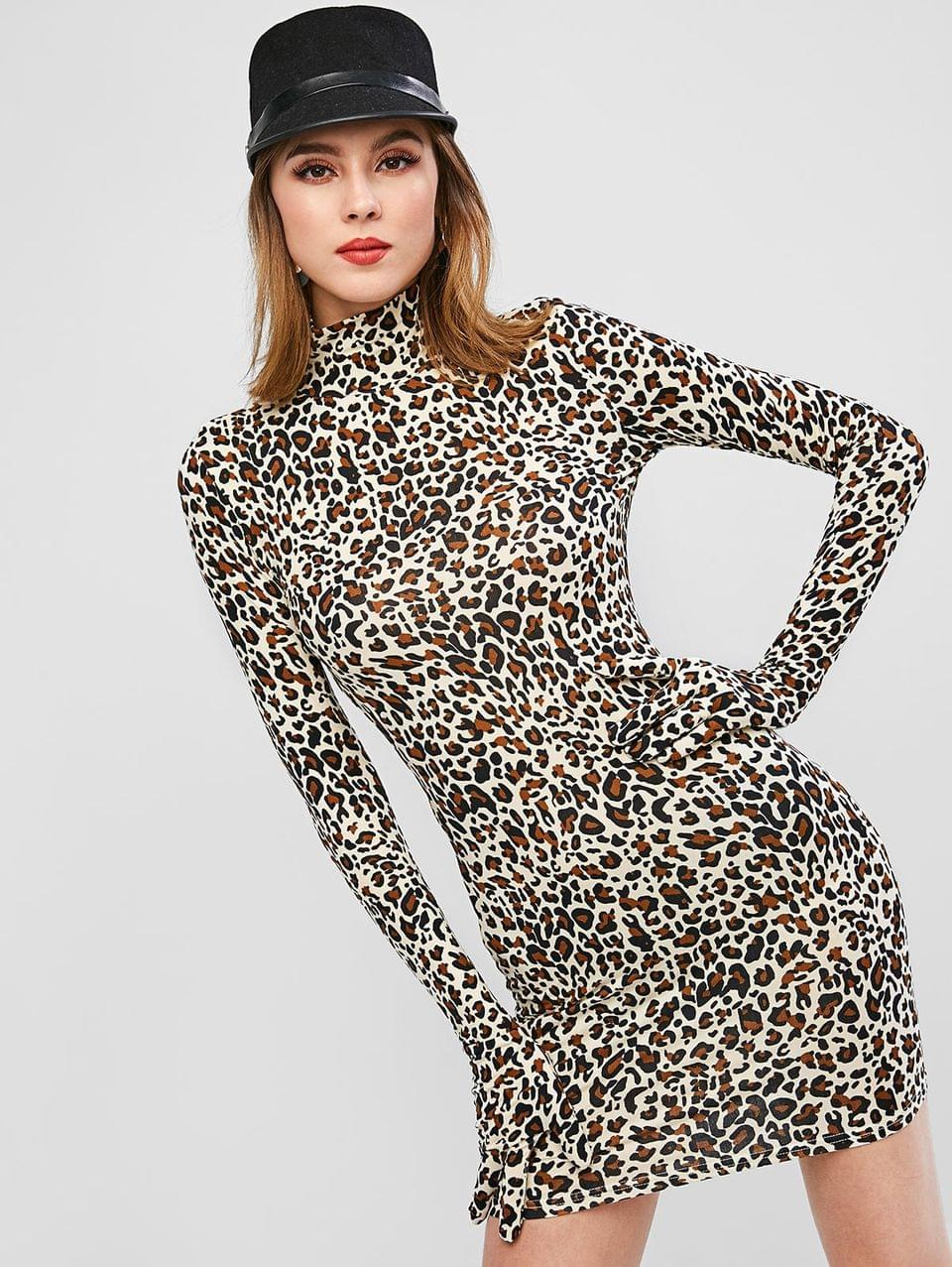 Women's Leopard Print Glove Sleeves Bodycon Dress - Leopard S