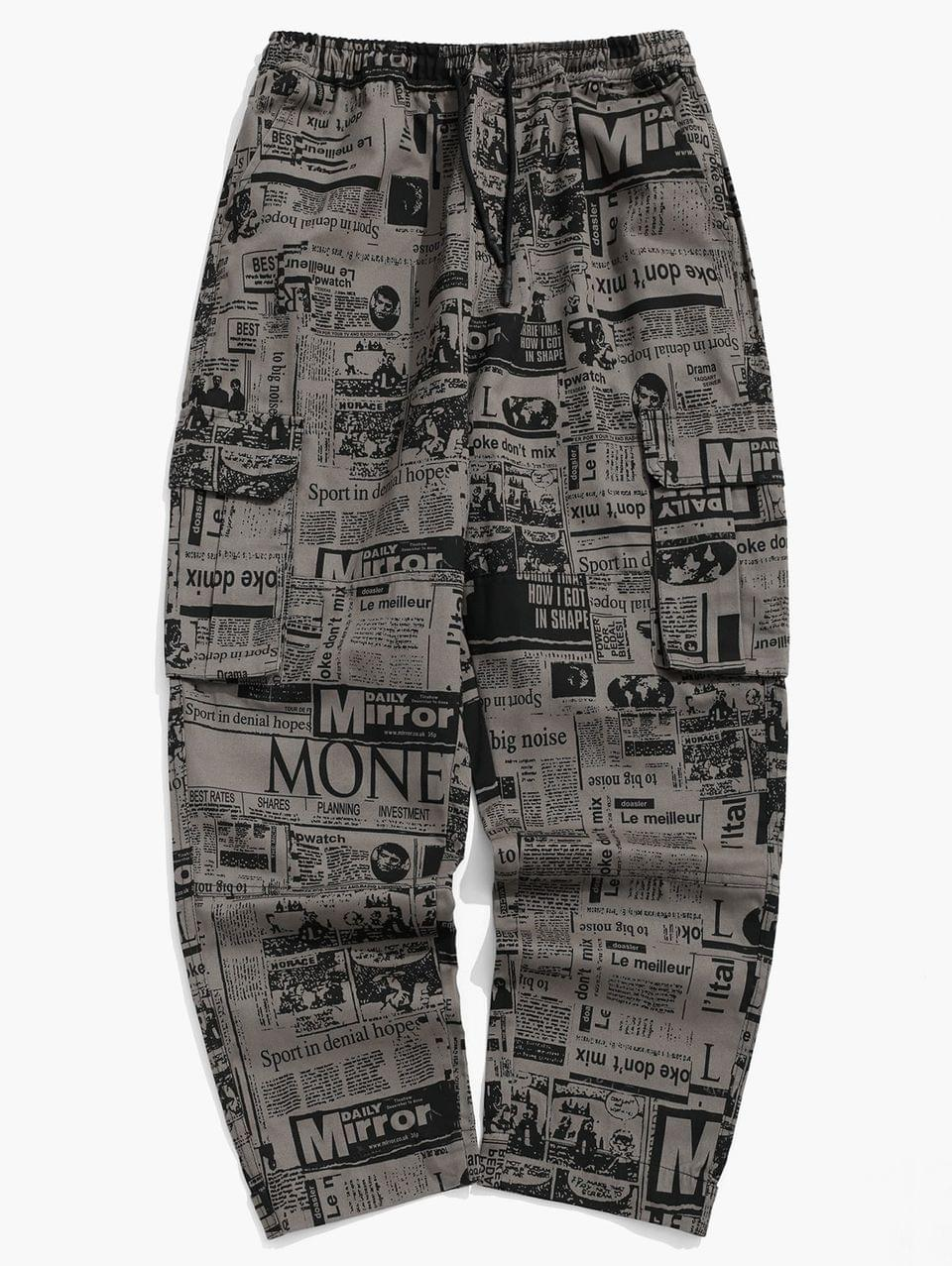 Men's Distressed Newspaper Allover Print Long Straight Pants - Multi L