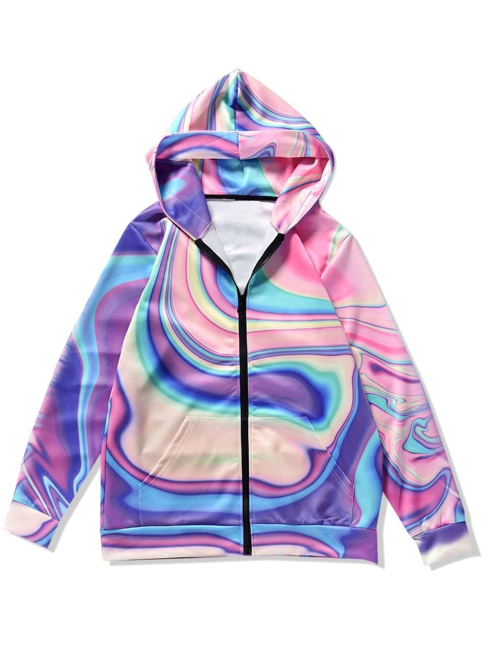 Men's Asymmetric Dazzle Print Zip Up Hoodie - Multi M