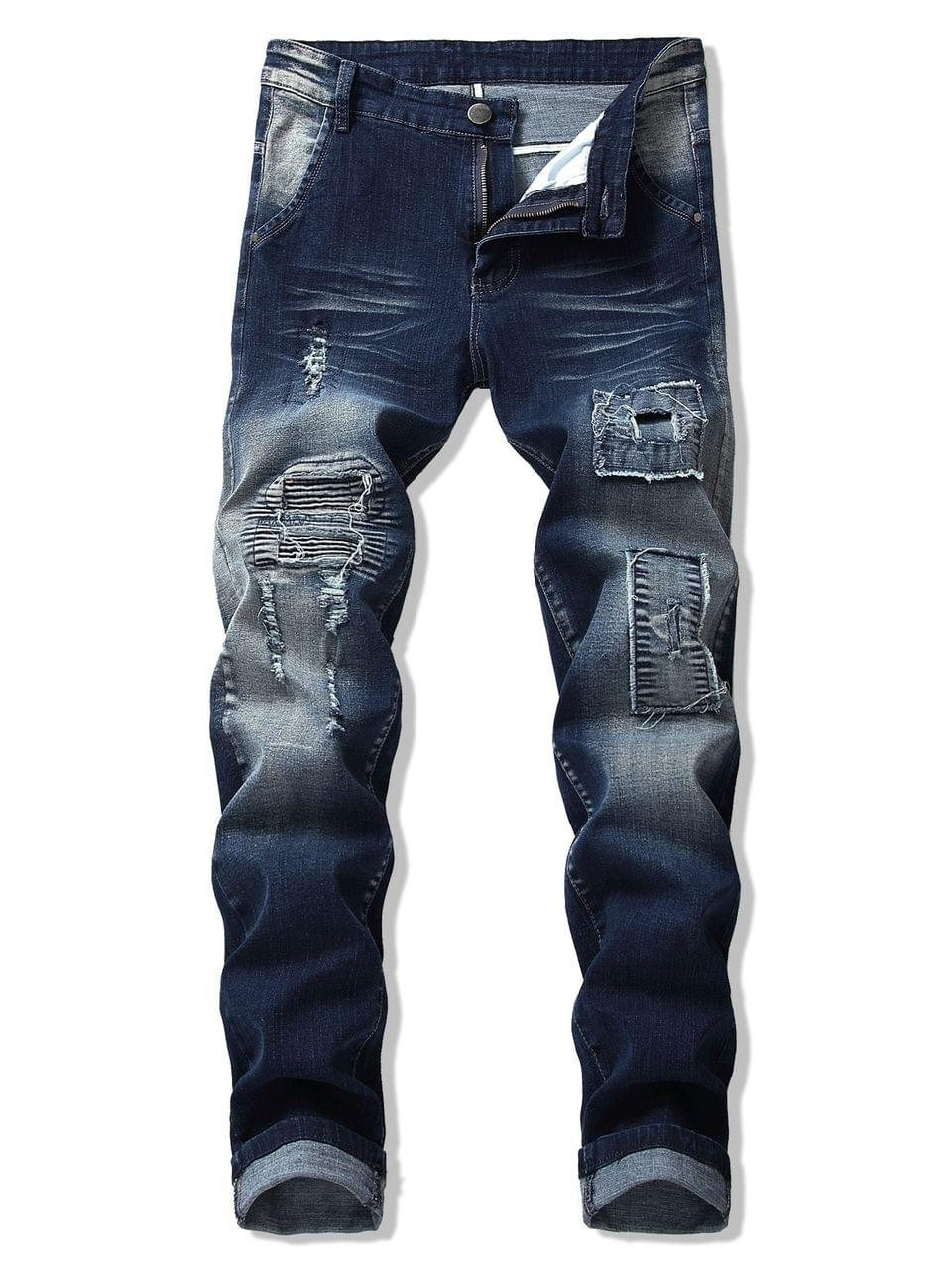 Men's Destroy Wash Pleated Patchwork Scratch Long Jeans - Denim Dark Blue 42