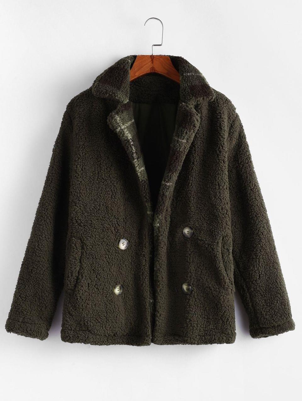 Women's Fuzzy Plaid Coat - Army Green M