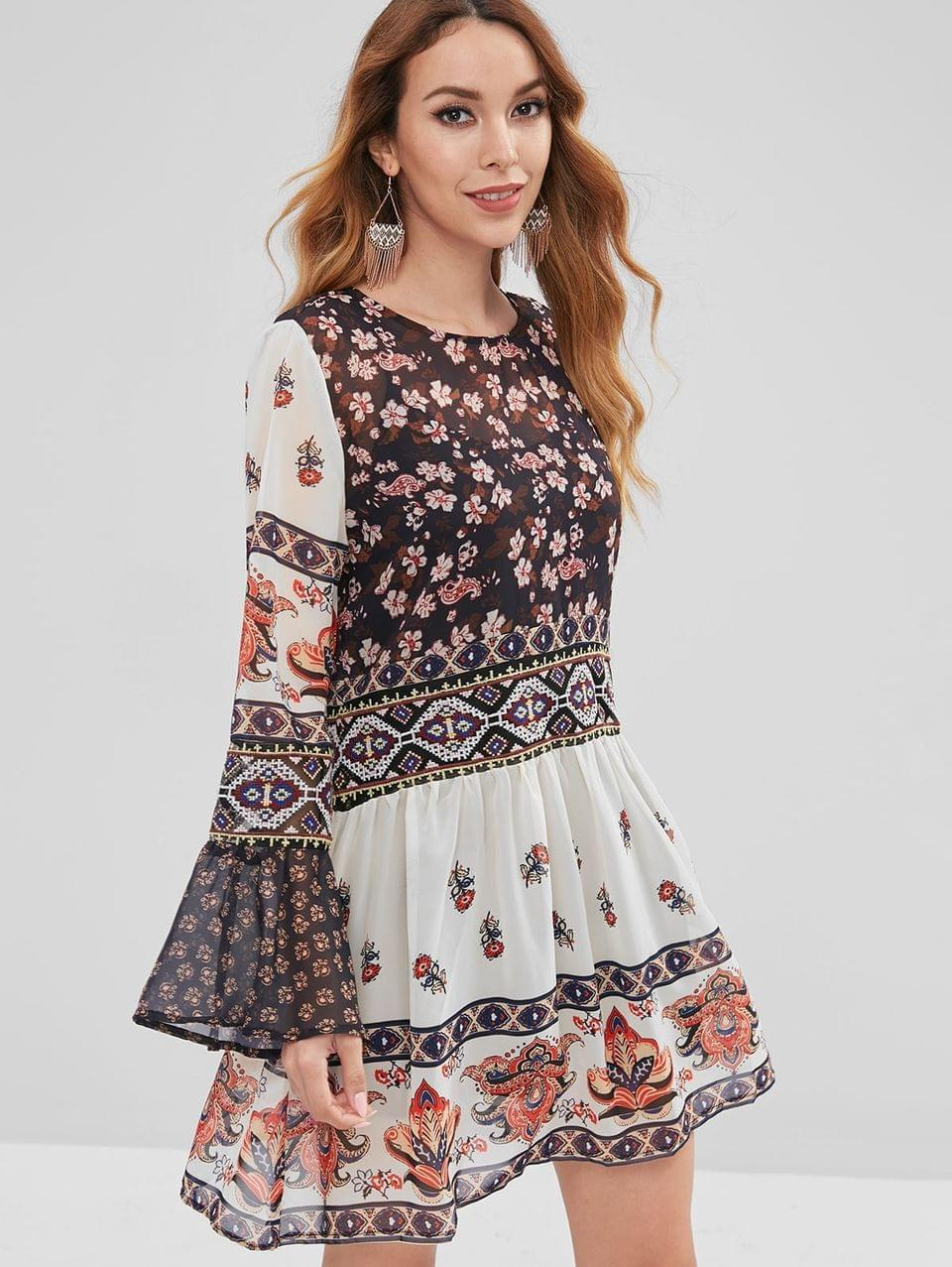 Women's Textured Floral Flare Sleeve Dress With Cami Top - Multi S