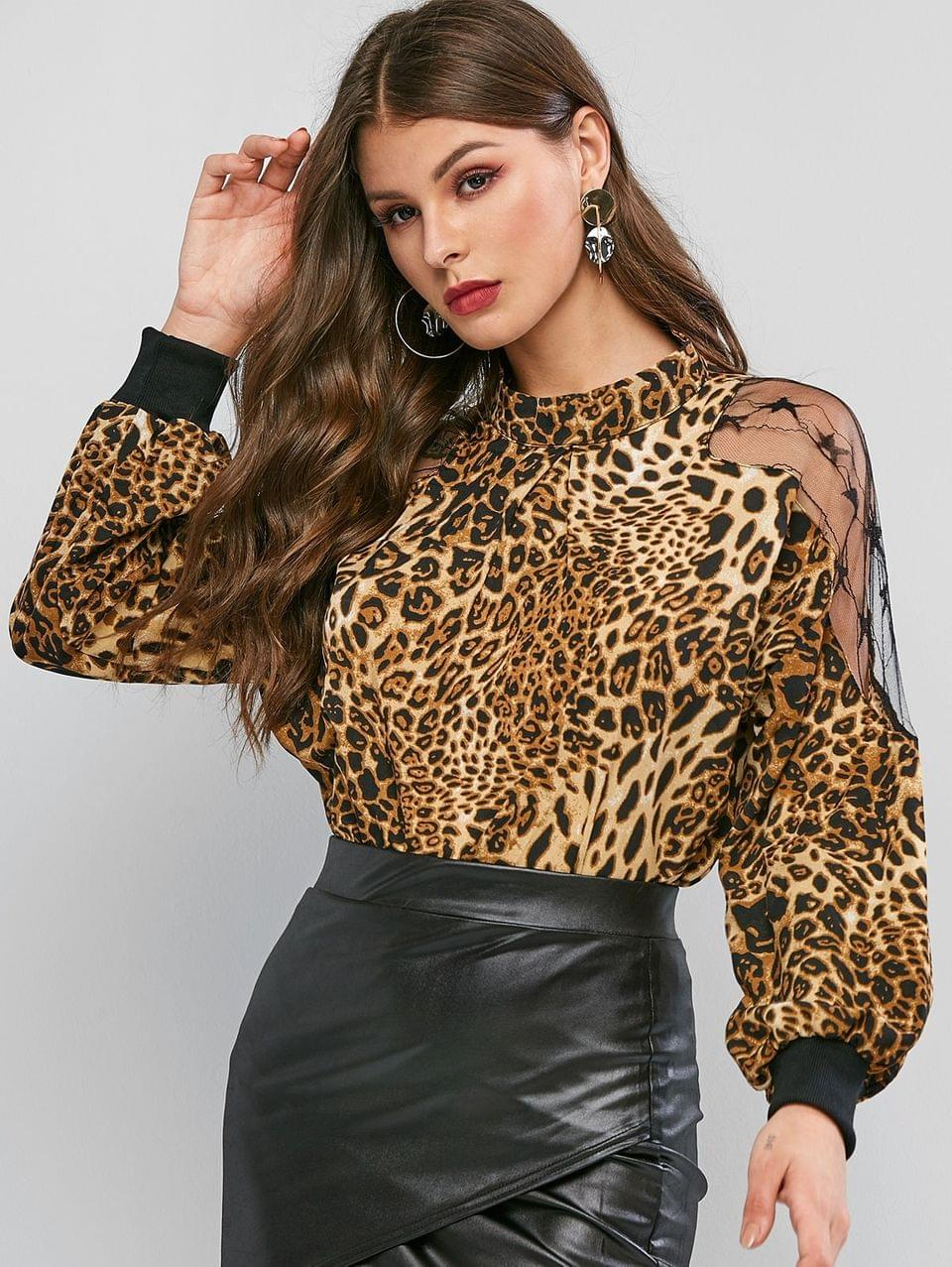 Women's Mock Neck Lace Panel Leopard Blouse - Leopard L