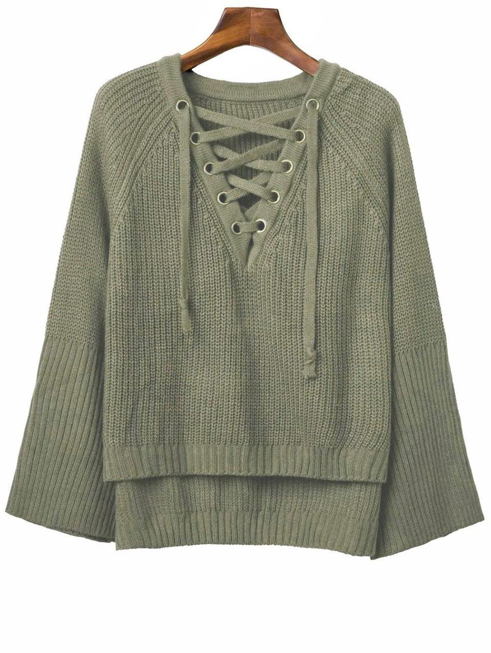 Women's Lace Up V Neck Long Sleeve Sweater - Army Green