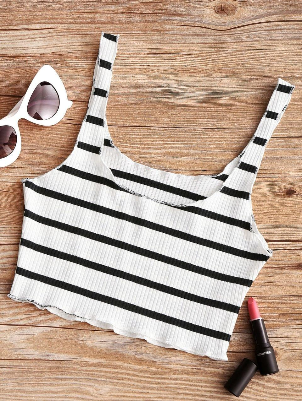 Women's Piped Ribbed Cropped Tank Top - White And Black
