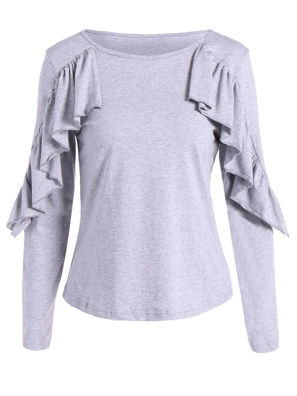 Women's Long Sleeve Frill T-Shirt - Gray L