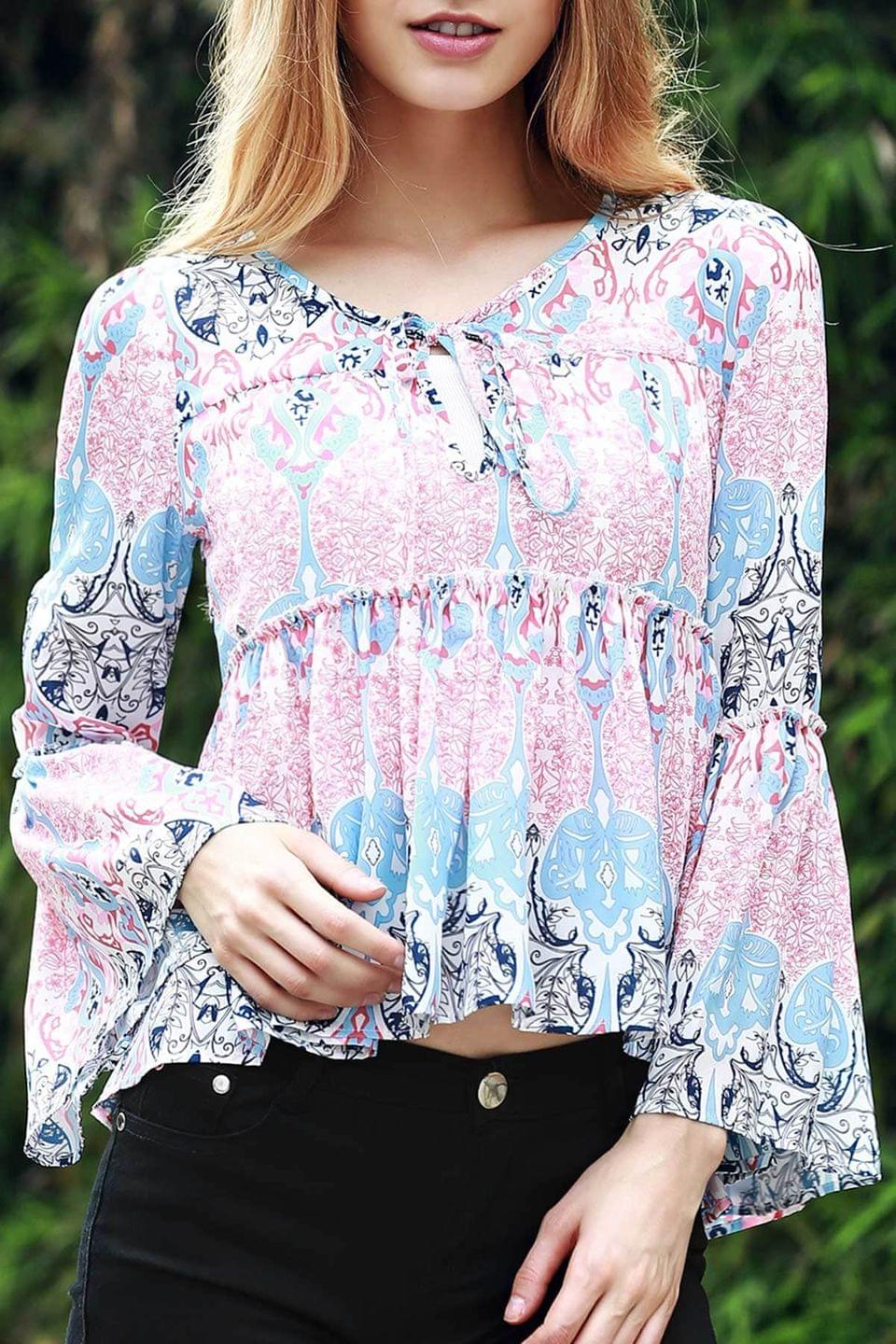 Women's Bell Sleeve Printed Trapeze Top - Blue And Pink Xl