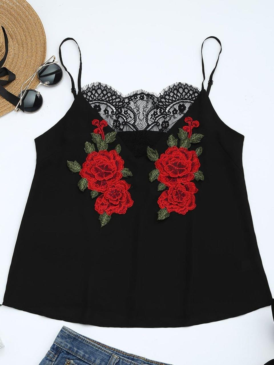 Women's Lace Panel Floral Patched Cami Top - Black S