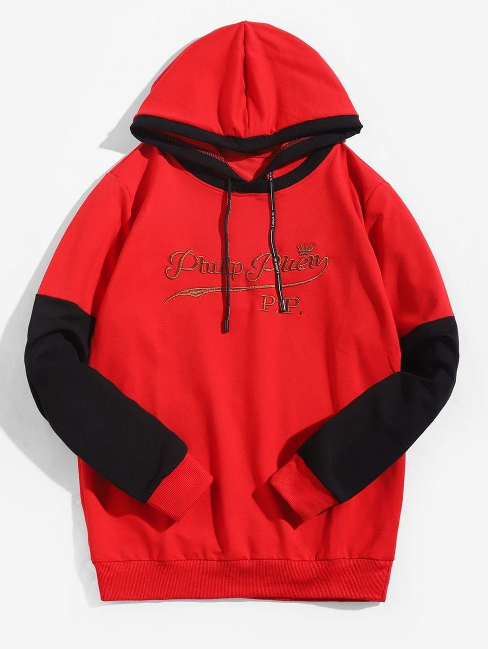 Men's Embroidery Letter Colorblocking Panel Hoodie - Red M
