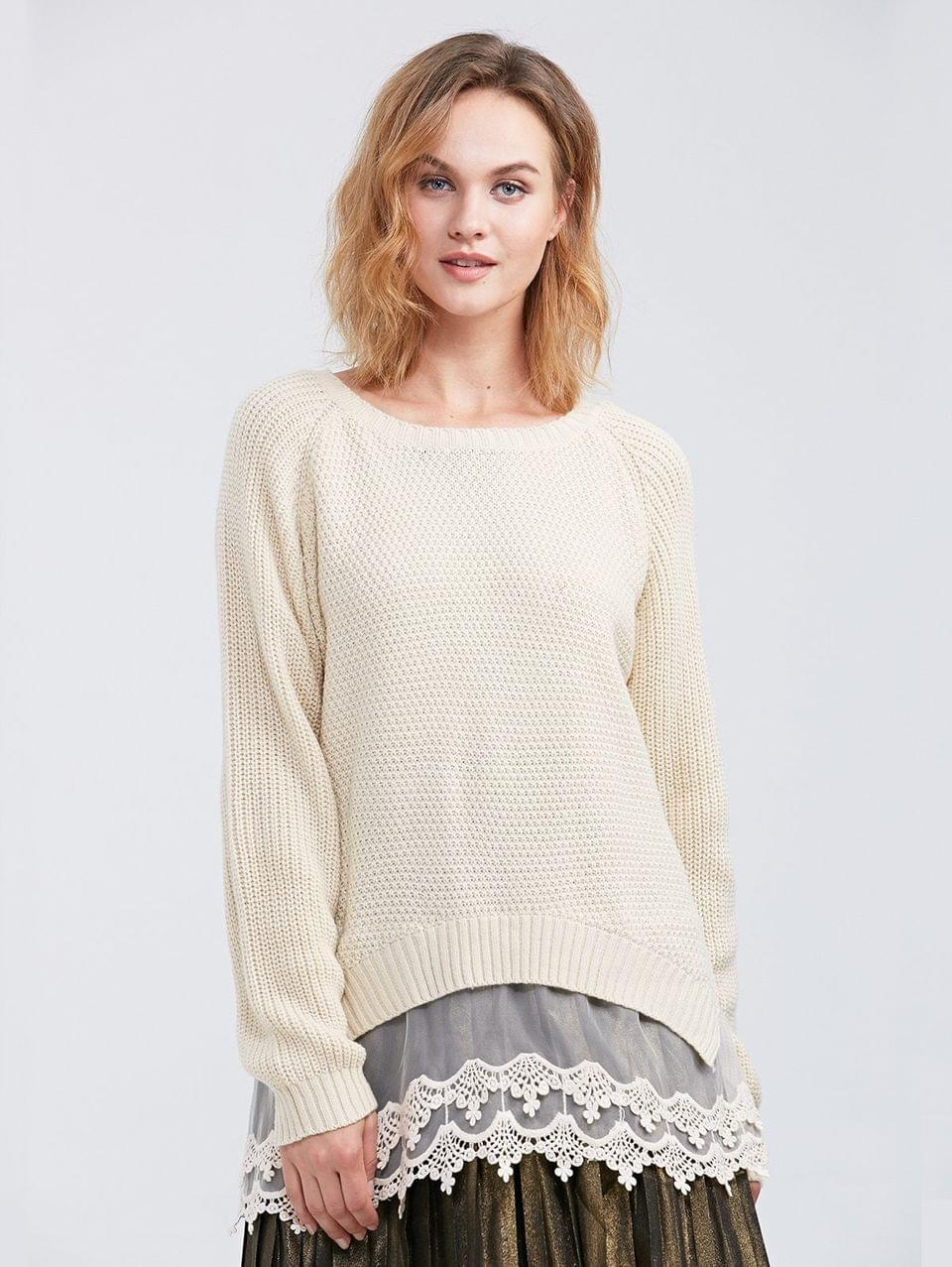 Women's Raglan Sleeve Lace Panel Pullover Sweater - Off-white M